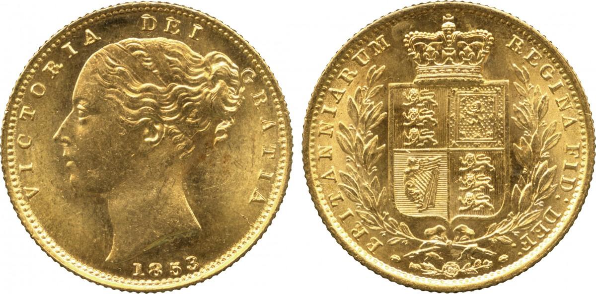 ビクトリア、ヤングヘッドのソブリン金貨について