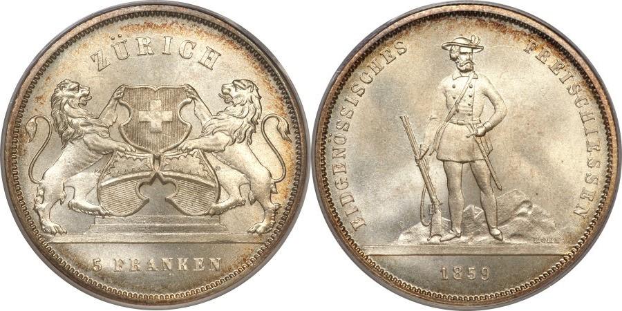 スイス、チューリッヒの射撃祭銀貨について