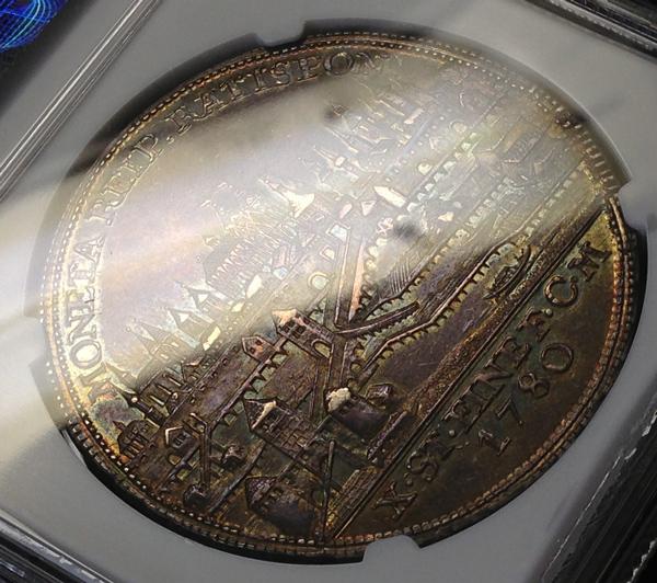 パープルトーンのレーゲンスブルク都市景観銀貨について