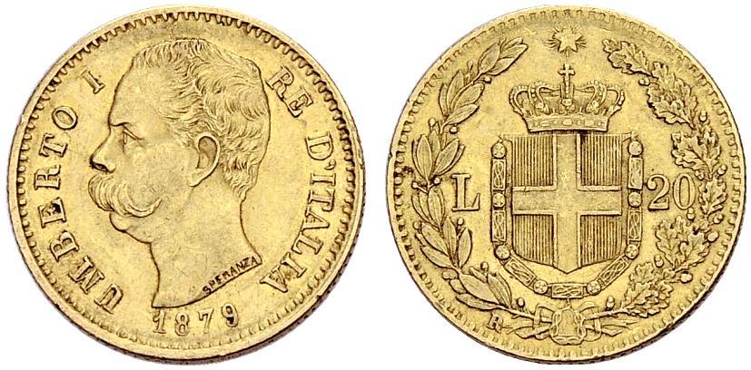 イタリア、ウンベルト1世リレ金貨