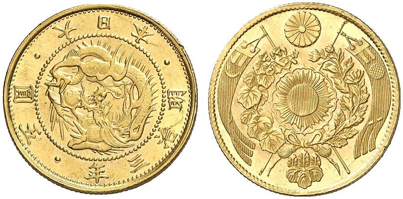 日本の5円金貨とドイツダカット金貨