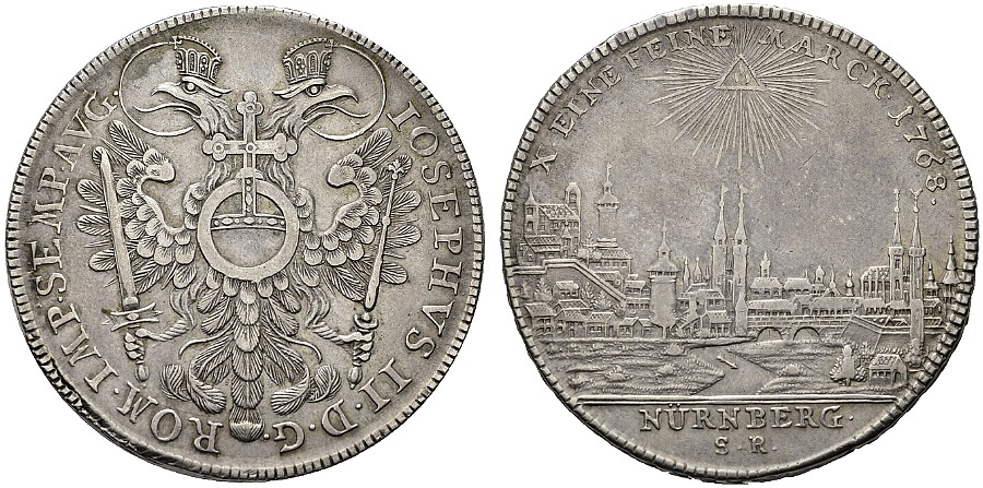ニュルンベルグとレーゲンスブルクの都市景観銀貨について