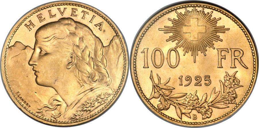 スイス、アルプスの少女 100フラン金貨