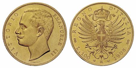 イタリア ヴィットーリオ エマヌエーレ3世の100リレ金貨について