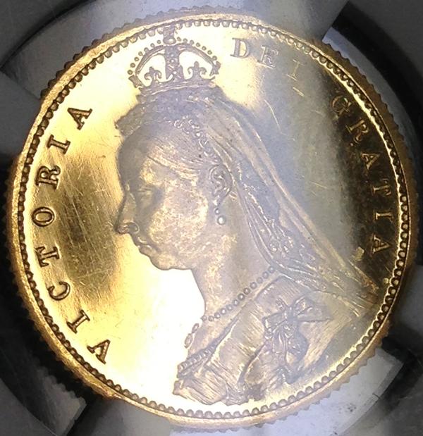 1887年ビクトリア プルーフ1/2ソブリン金貨について