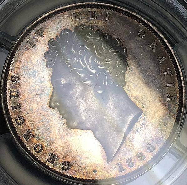 1826年英国ジョージ 4世プルーフハーフクラウン銀貨について