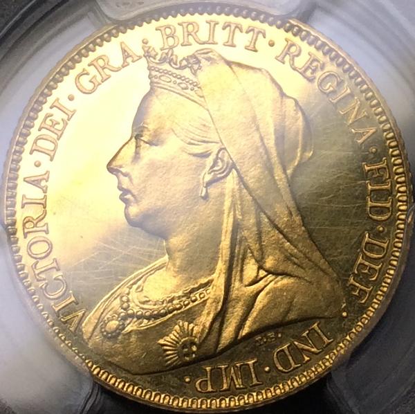 ビクトリア1893年ベールヘッドのプルーフソブリン金貨について