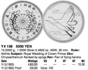 皇太子殿下御成婚記念5,000円銀貨