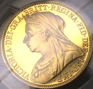 1893年ヴィクトリアのプルーフ2ポンド金貨