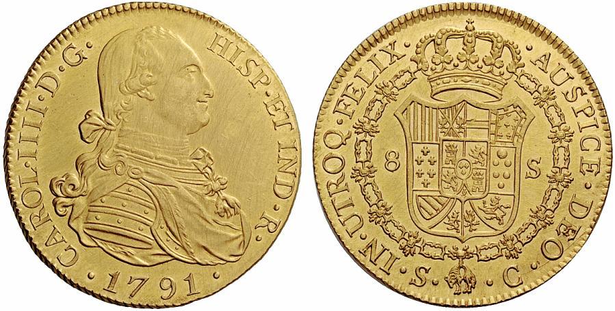 スペイン王カルロス4世のエスクード金貨について