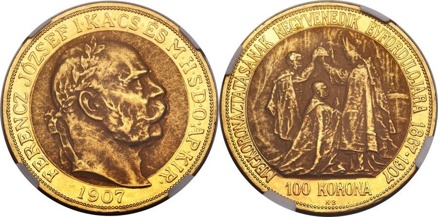 ハンガリー フランツヨーゼフの100コロナ金貨