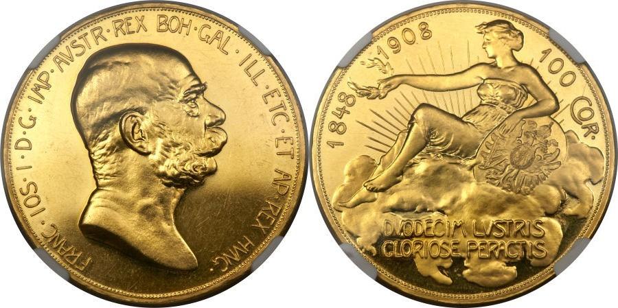 1908年100コロナ金貨