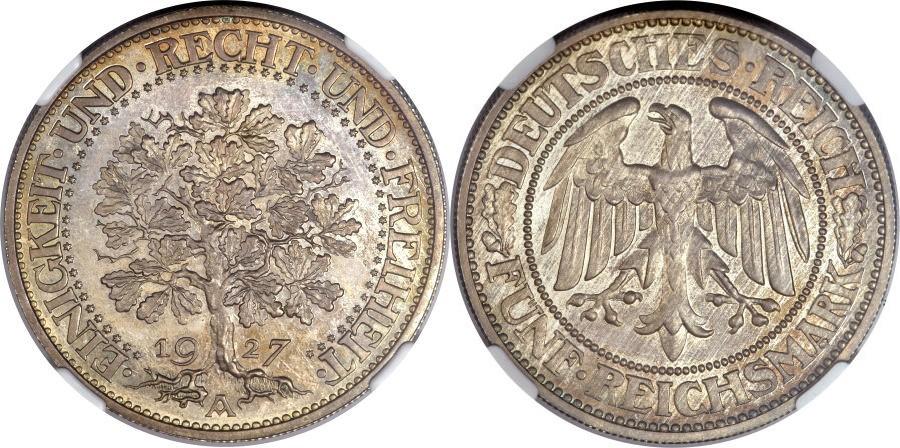 ヴァイマル共和国1930年樫の木プルーフ5マルク銀貨について