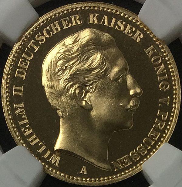 ドイツ プロイセン ヴィルヘルム2世 プルーフ20マルク金貨