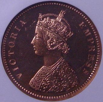 インド ビクトリア女王 1891年 1/2アンナ貨