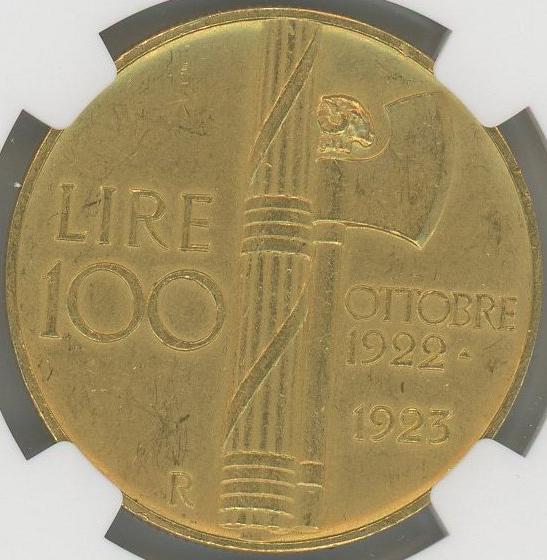 ヴィットリオ エマヌエレ3世 ファシスト政権1周年記念100リレ金貨