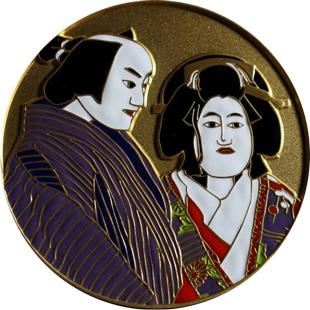 人形浄瑠璃文楽七宝章牌メダル